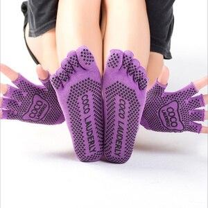 Женские нескользящие носки и перчатки для йоги, идеально подходят для пилатеса, балета, танцев, босиком тренировок