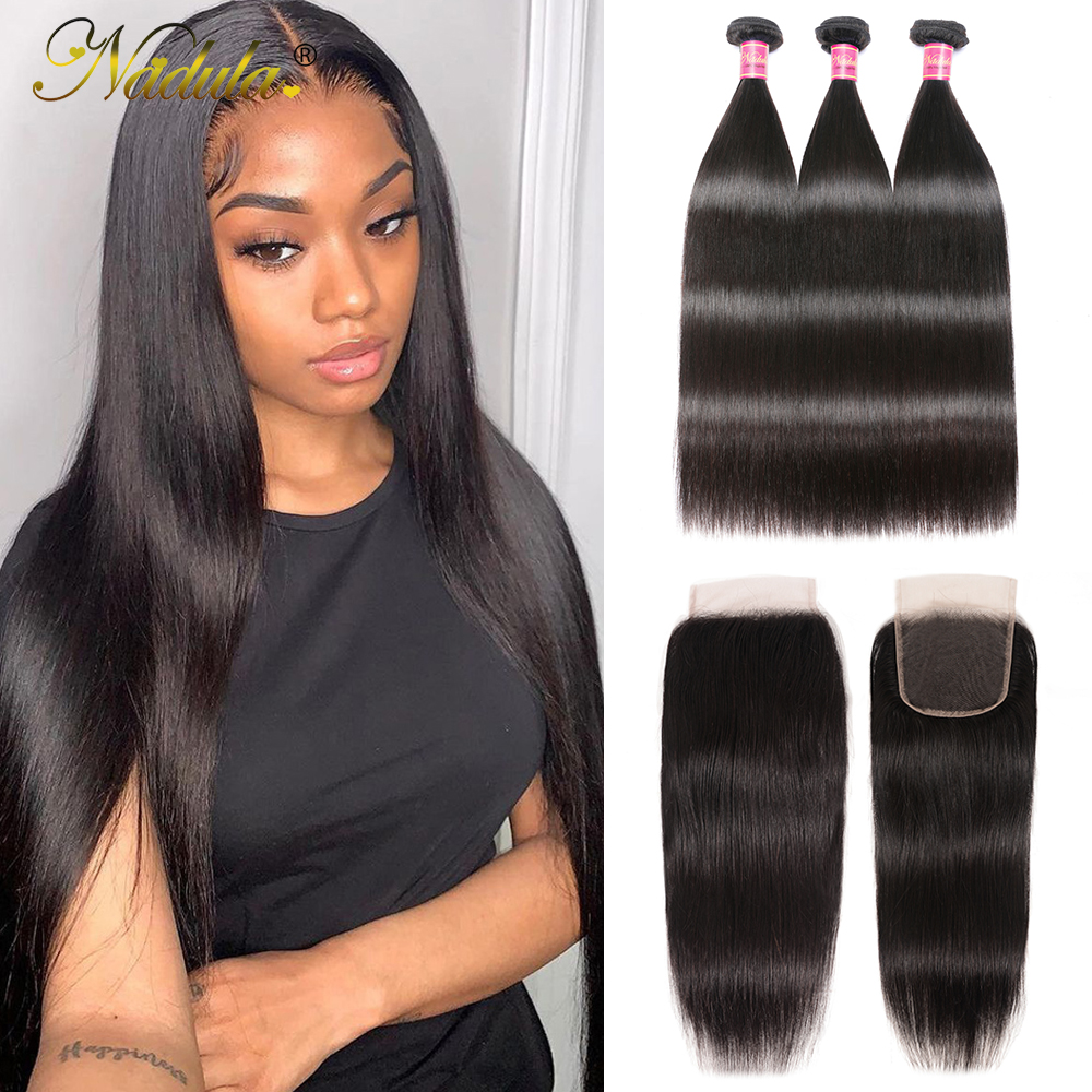 Nadula Hair 5*5 HD Lace Closure Straight Hair Bundles With Closure 100%  Bundles With Closure   1