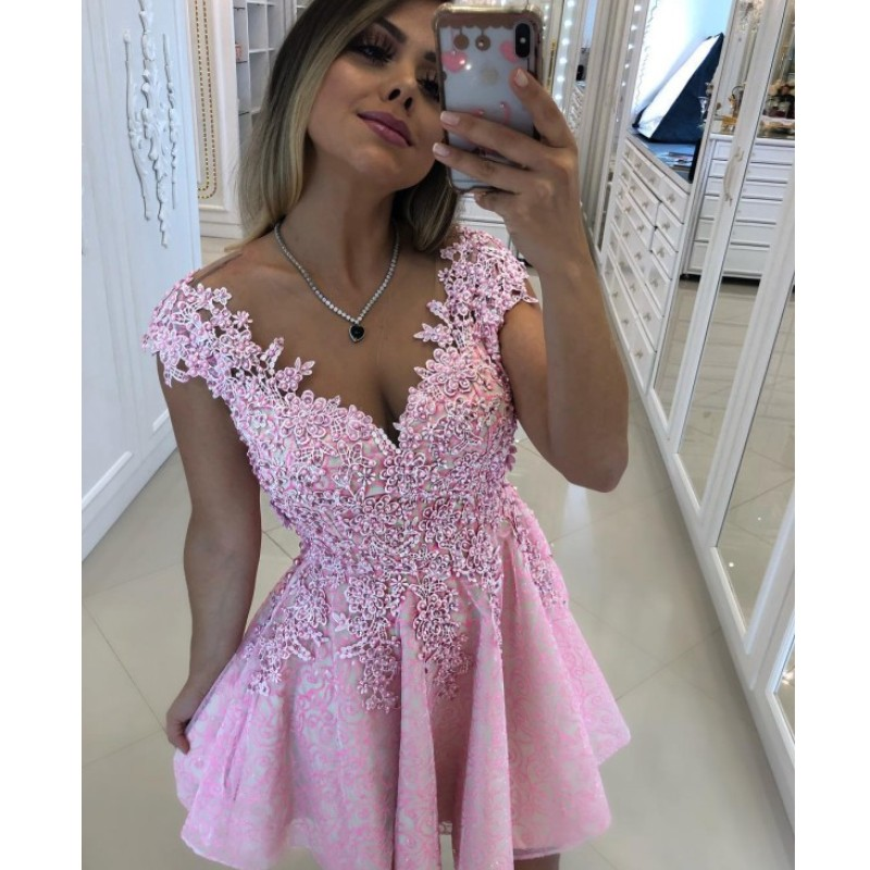Cocktail Dresses Short Pink Prom Homecoming Dress 2019