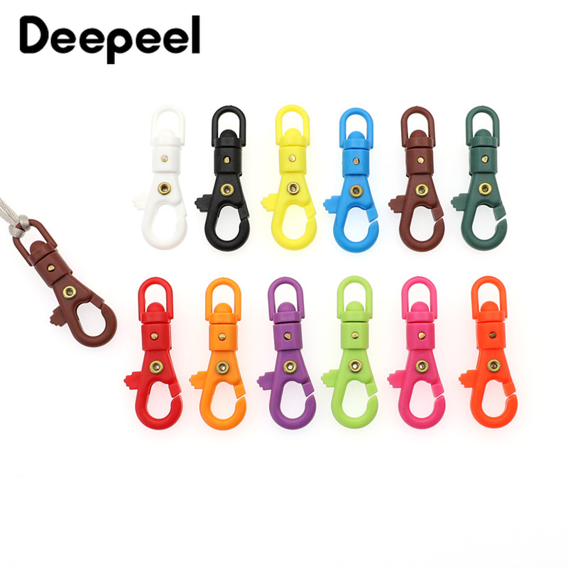 Deepeel 20pcs ID5.5mm Colorful Plastic Otating Hook Buckle KeyChain Luggage Hooks Clasp Spring Backpack Hang Buckles Accessory