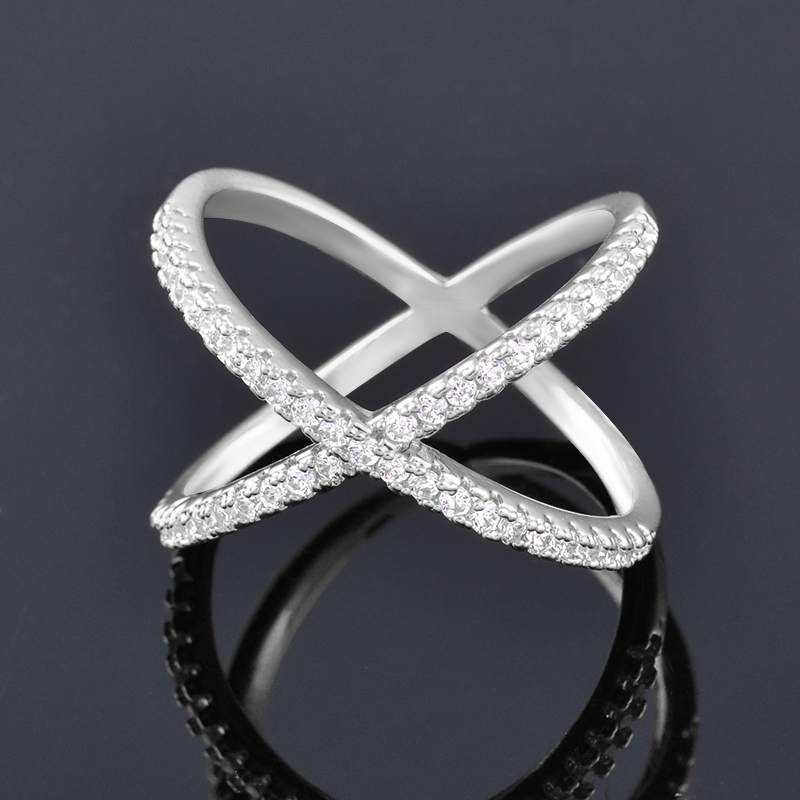 SINLEERY Trendy X Shape Cross Wedding Rings Rose Yellow Gold Silver Color Micro Paved Crystal Rings For Women Jewelry JZ008 4