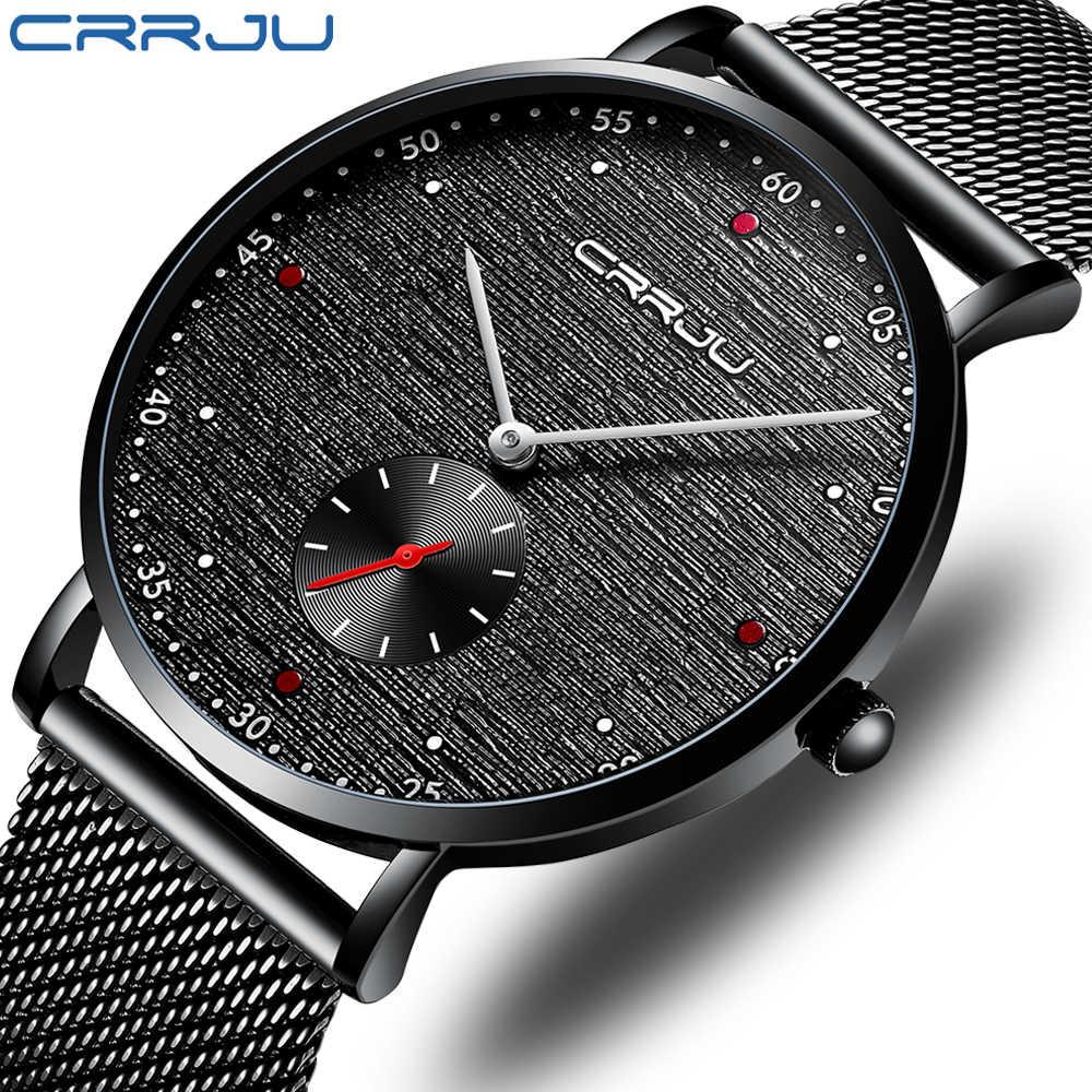 CRRJU hommes montres haut de gamme marque de luxe étanche Ultra mince horloge mâle bracelet en acier montre à quartz décontractée hommes sport montre-bracelet