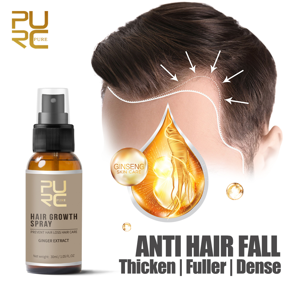 PURC 30 Days Hair Growth Spray Strengthen Hair Essence Liquid Fast Grow Restoration Dense Thicker Anti Hair Loss Treatment