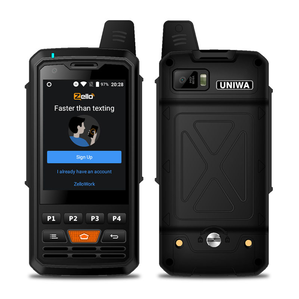 Unlocked UNIWA F50 Quad Core Android PTT Walkie Talkie 4G Smartphone For Single SIM Card 4000mAh Battery 1+8GB