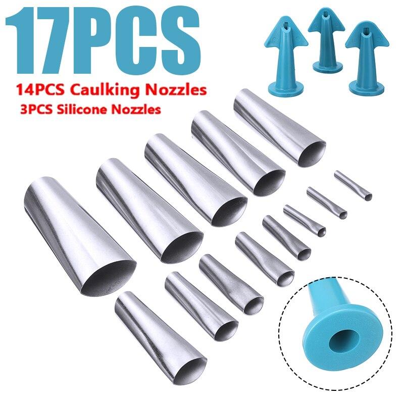 17pcs Glue Caulk Nozzle Set Reusable Stainless Perfect Caulking Finisher Kit Applicator Filler Sealant Angle Scraper Tool