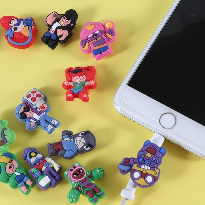 Brawl Game Figura Anime Star USB Charger Cable Winder Protective Case Earphone Cord Sleeve Wire Cover Data Protector For Iphone