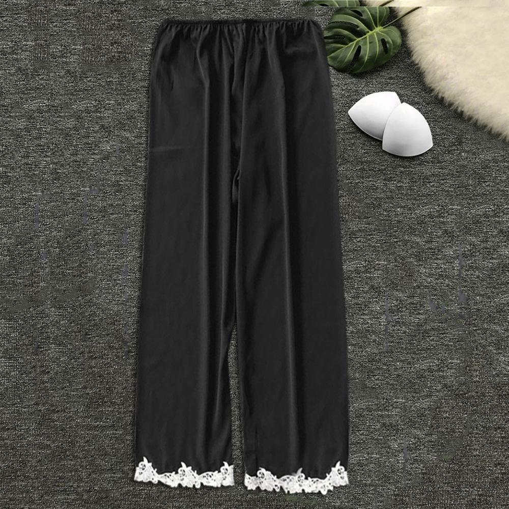 Ladies Sleeping Pants Silk Satin Nightwear Sleep Lounge Sexy Sleep Bottoms Trousers Soft Pants Women Satin Sleep Bottoms 2020