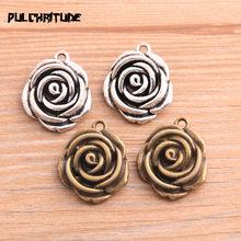 PULCHRITUDE 3 sztuk 20*25mm 2020 nowy produkt dwa kolor różany kwiat Charms roślin wisiorek bez wypełnienia biżuteria Metal biżuteria ze stopu znakowanie