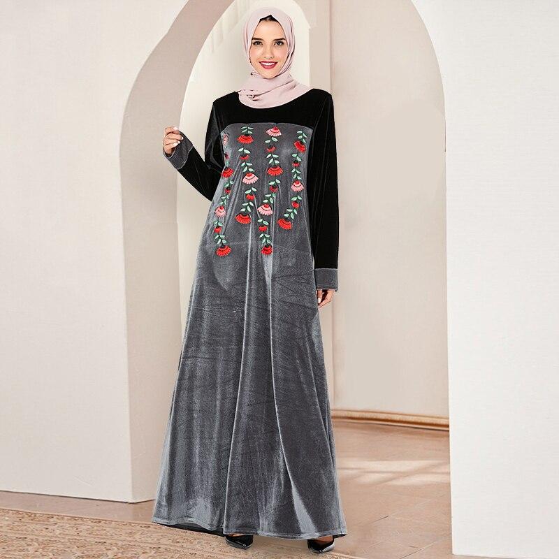 Siskakia Muslim Long Dress Velvet Floral Embroidery Maxi Dresses Fashion Grey Black Hit Color Patchwork Arabic Clothes Plus Size