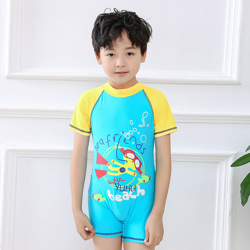 New Style CHILDREN'S Swimsuit Sunscreen BOY'S Surfing Suit Cartoon Swimming Trunks BOY'S Swimsuit Manufacturers Wholesale A Gene