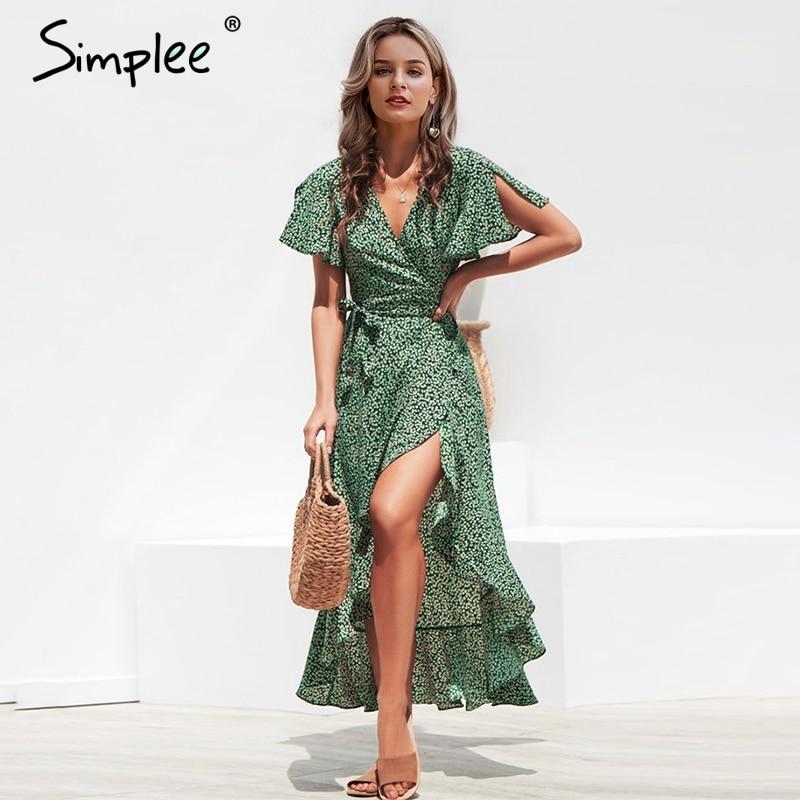 Simplee Leopard print dress women Summer sashes long green split floral print beach dress Sexy holiday female plus size vestidosDresses   -