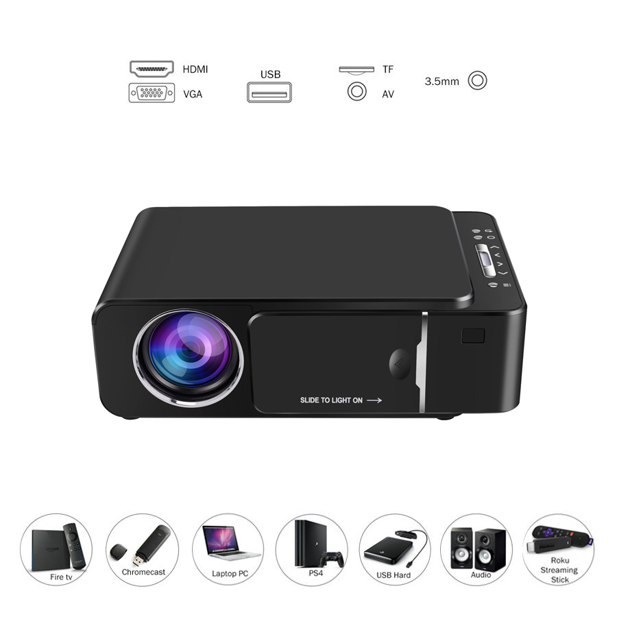 Image 2 - VIVICINE 1280x720p Portable HD Projector,Option Android 7.1 HDMI USB 1080p Home Theater Proyector WIFI Mini Led Beamer-in Overhead Projector from Consumer Electronics