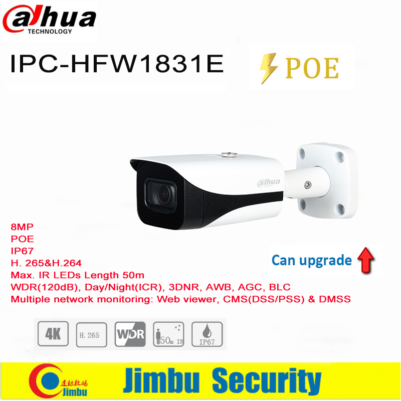 Dahua IP Camera 8MP POE IPC-HFW1831E H.265 WDR IR50m Mini Bullet CCTV Camera IP67 Original English Version 4K  IVS 3DNR, AWB, AG