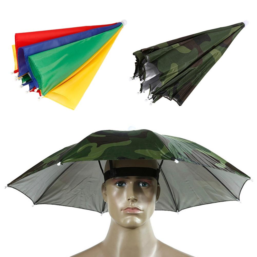 Outdoor Fishing Caps Portable Head Umbrella Hat Anti-Rain Fishing Anti-Sun Umbrella Hat Adults Unisex Outdoor Sports Cap