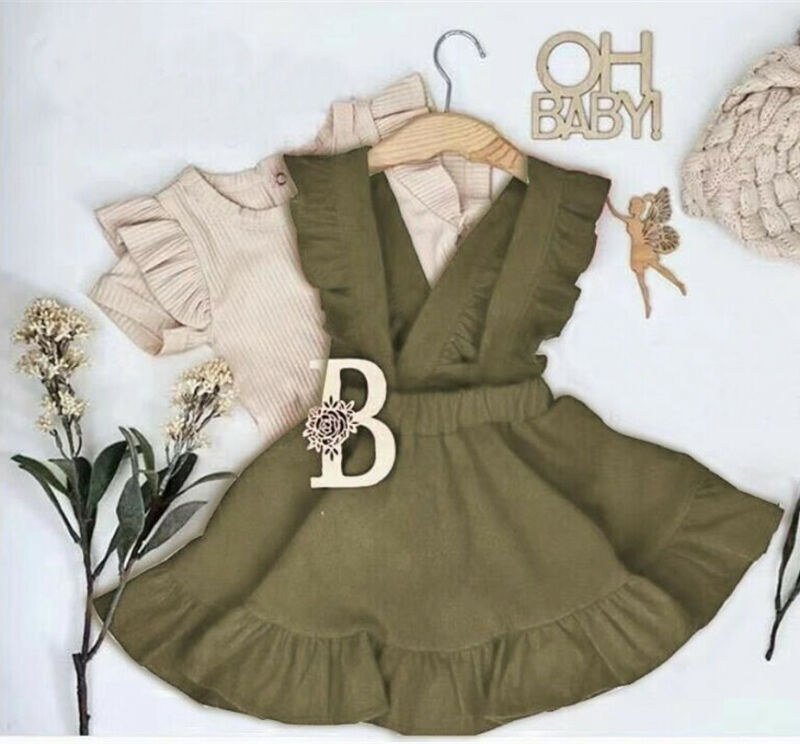 2020 New Summer Toddler Kids Baby Girls Clothes Ruffles Shorts Sleeve Top T-shirt Strap Dress Holiday Outfit Set