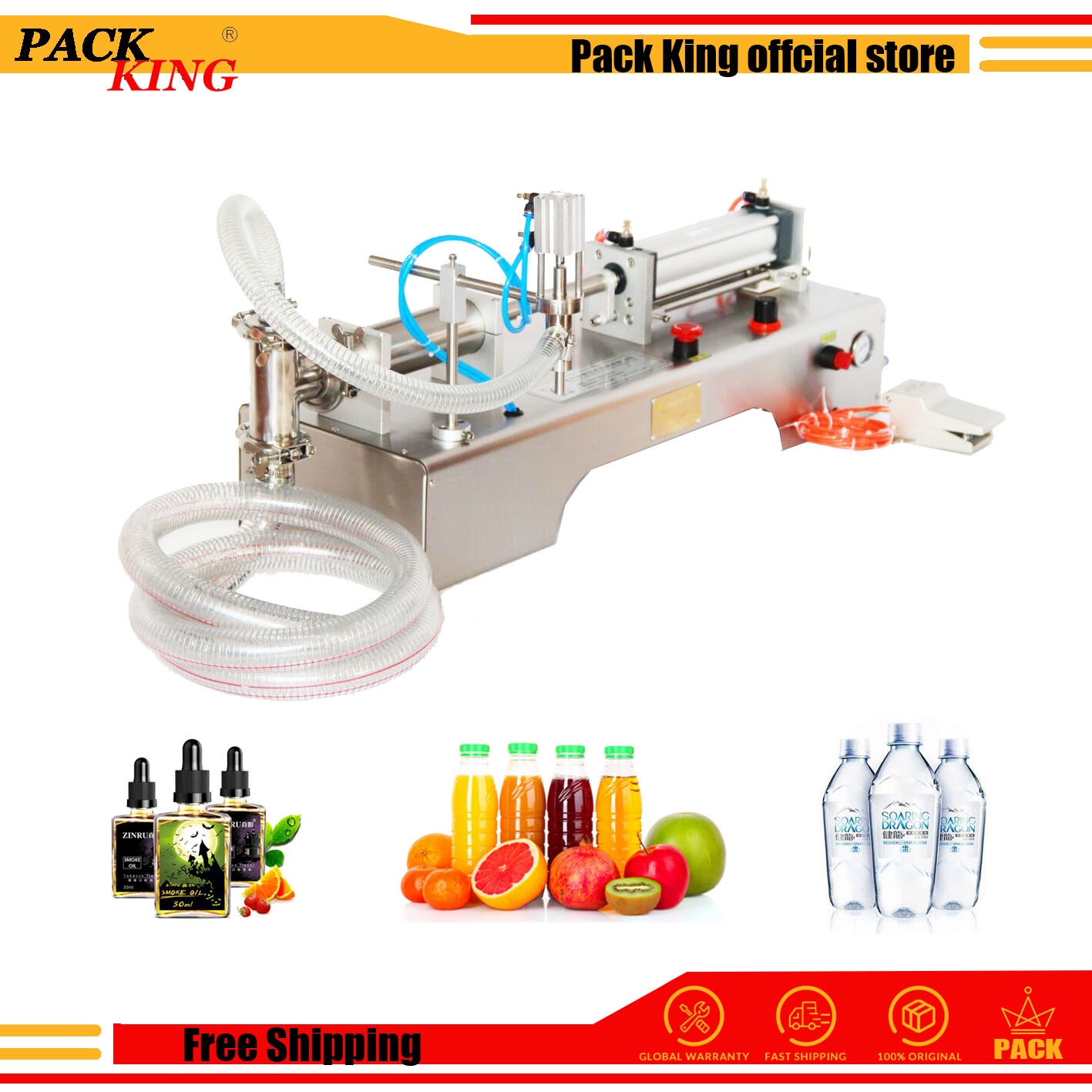 Liquid Filling Machine Fully Pneumatic Single Head Shampoo Juice Wine Piston Filler Only Air Power No Electric Free Shipping