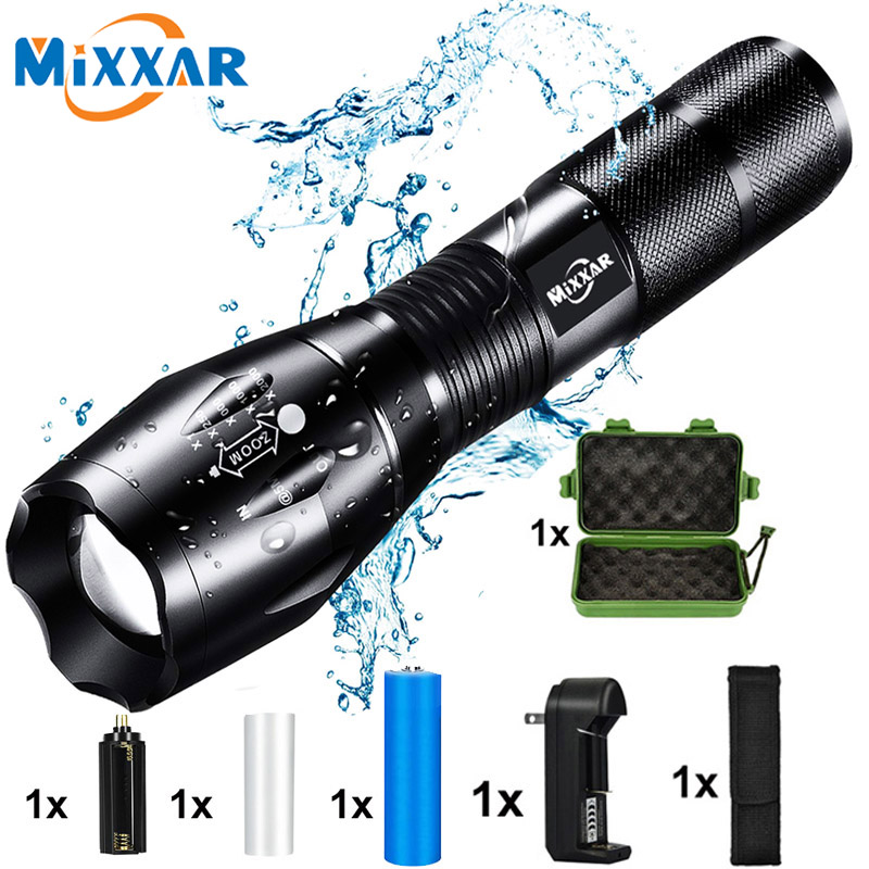 ZK20 Dropshipping T6 LED Handheld Tactical Flashlight Zoom Torch Light Camping Lamp For 18650 Rechargeable Battery AAA