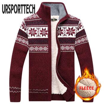 Sweter męski sweter ciepły aksamitny sweter zimowy wełniany sweter męski dorywczo zagęścić ciepły polarowy świąteczny sweter dla mężczyzny tanie i dobre opinie URSPORTTECH CHINA zipper Standardowy wełny MS12017 MS12018 COTTON Patchwork Golfem Na co dzień PATTERN Komputery dzianiny