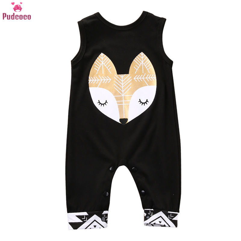 Newborn Baby Printing Sleeveless Girls Jumpsuit Romper Outfit Kids Clothes