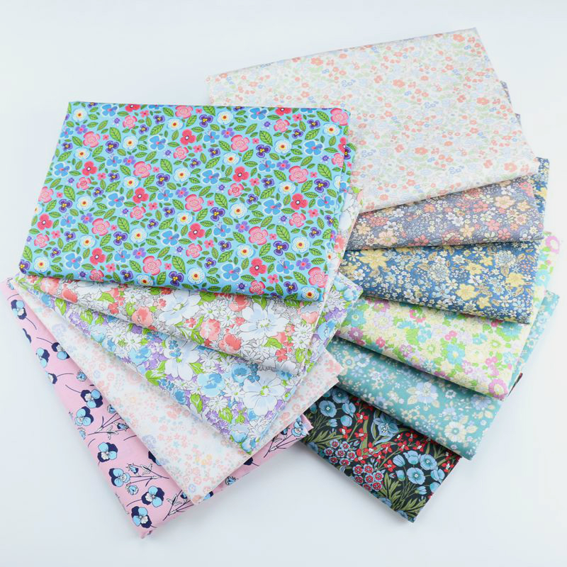 160x50cm Small Floral Fabric Pastoral Manual Hand Twill Cotton Cloth Baby Dress Textile Bedding Cloth