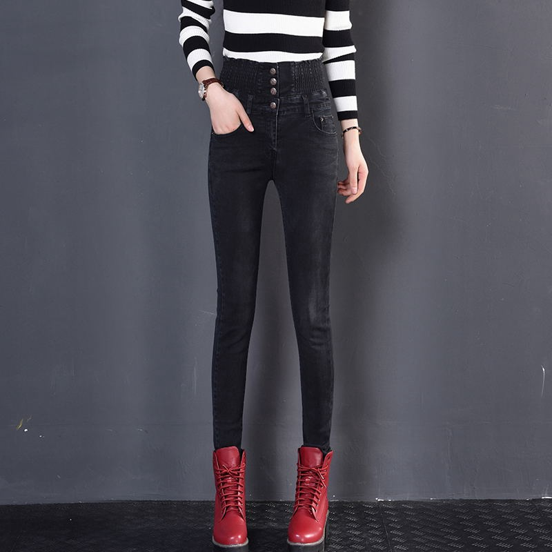 2019 Autumn And Winter High Waist Jeans Women's Skinny Elasticity Slimming Pine Jin Yao Versatile Buckle Trousers Pencil Pants