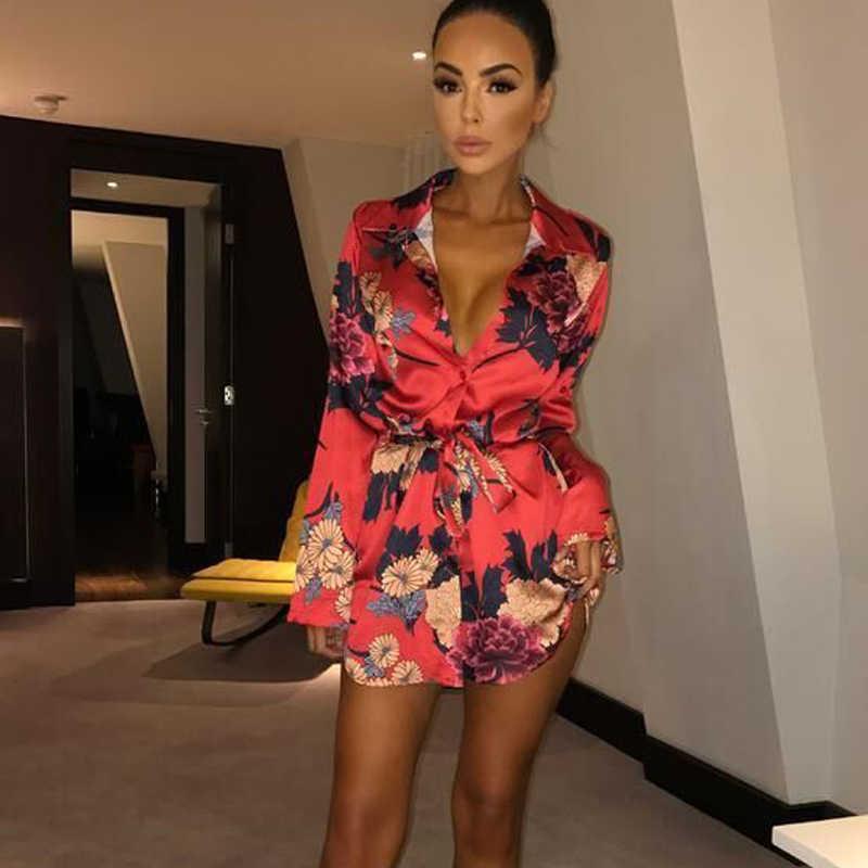 UK Womens Floral Satin Long Tops Blouse Ladies Summer Beach Party T Shirt Dress