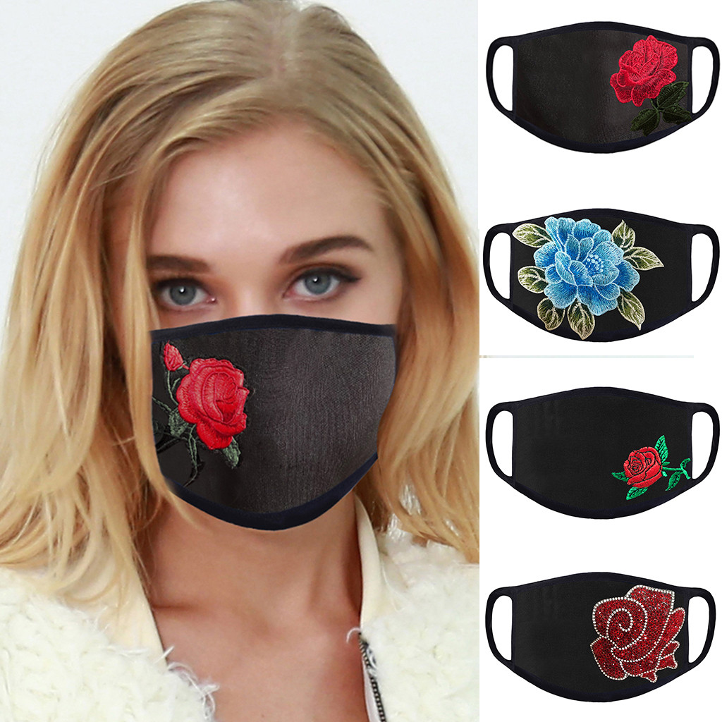Women Embroidery Flower Face Mask Adult Protective PM 2.5 Dust Mouth Face Mask Washable Reusable Breathable Mask Respirator