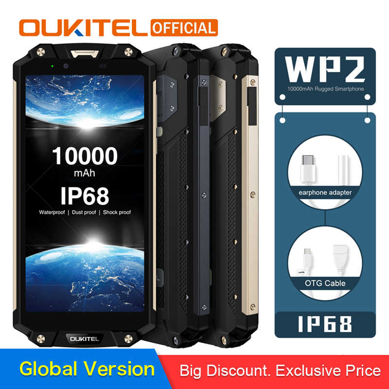 "OUKITEL WP2 IP68 Waterproof Dust Shock Proof Mobile Phone 4GB 64GB MT6750T Octa Core 6.0"" 18:9 10000mAh Fingerprint Smartphone"