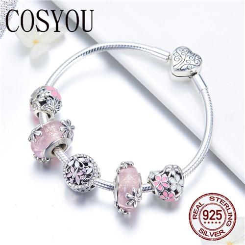 COSYOU 2019 925 argent Sterling jardin fée rose perles de verre européennes bracelets porte bonheur et bracelets bijoux en argent Sterling SCB821 - 3