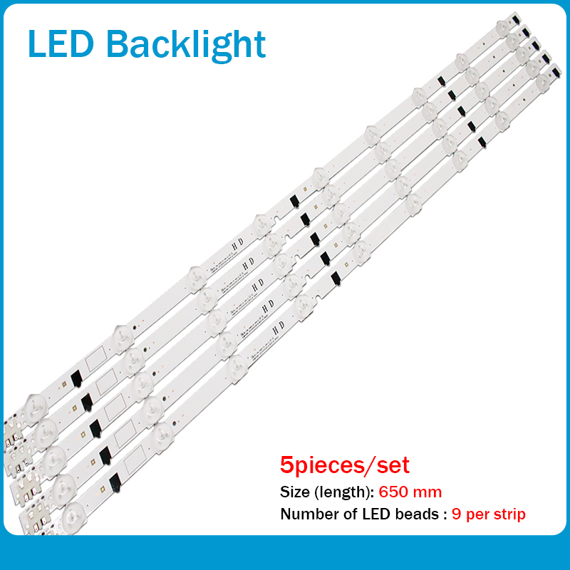 5piece/lot 650mm LED Lamp Strip 9leds For UA32F4088 2013SVS32H D2GE-320SC0-R3 UA32F4088AR CY-HF320AGEV3H UE32F5000 UA32F4000AR