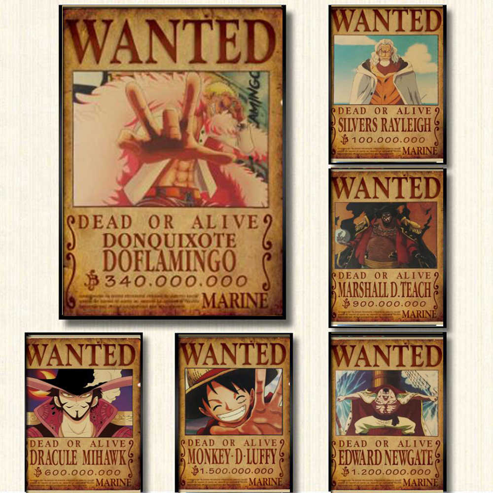 51.5X36Cm Home Decor Muurstickers Vintage Papier Een Stuk Wilde Posters Anime Posters Luffy Chopper Wilde