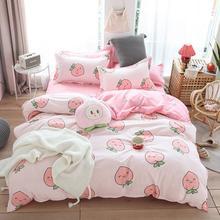 54 bed linens peach print Home textile bedding luxury fruit duvet cover set sheet bedclothes 3
