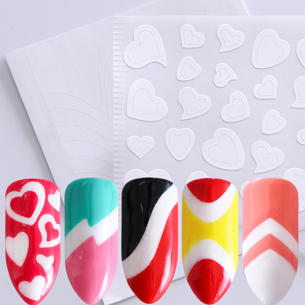Cross Border For Nail Sticker INS French Art White Heart Shape Flower Stickers Smile Wave Dotted Nail Sticker Nail