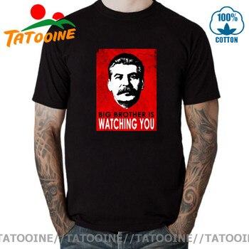 Moda hombres imprimir las naciones aliadas JOSEPH STALIN camisetas Big Brother Is...