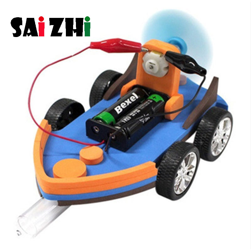 Saizhi Diy Aerodynamic Amphibious Ship Developing Intellectual STEM Toy Science Experiment Kit Kids Lab Set Birthday Gift SZ3266