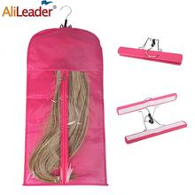 Alileader Best Quality Portable Wig Storage Bag With Hanger Package Suit Case Bag For Human Hair/Ponytail/Clips Hair Extensions