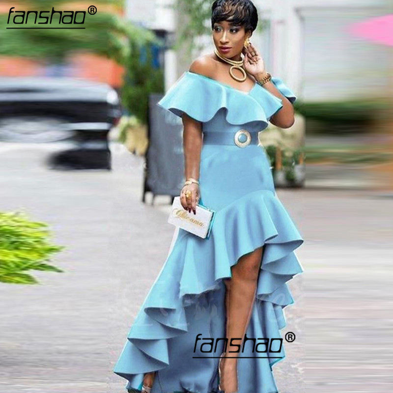 Sky Blue Evening Dresses Off Shoulder Satin Ruffles Simple Special Occasion IslamiDubai Saudi Arabic Hi Low Prom Dress