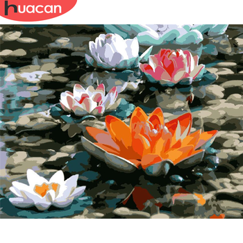 HUACAN Paint By Number Flowers Drawing On Canvas Gift DIY Pictures By Numbers Lotus Kits Hand Painted Painting Art Home Decor