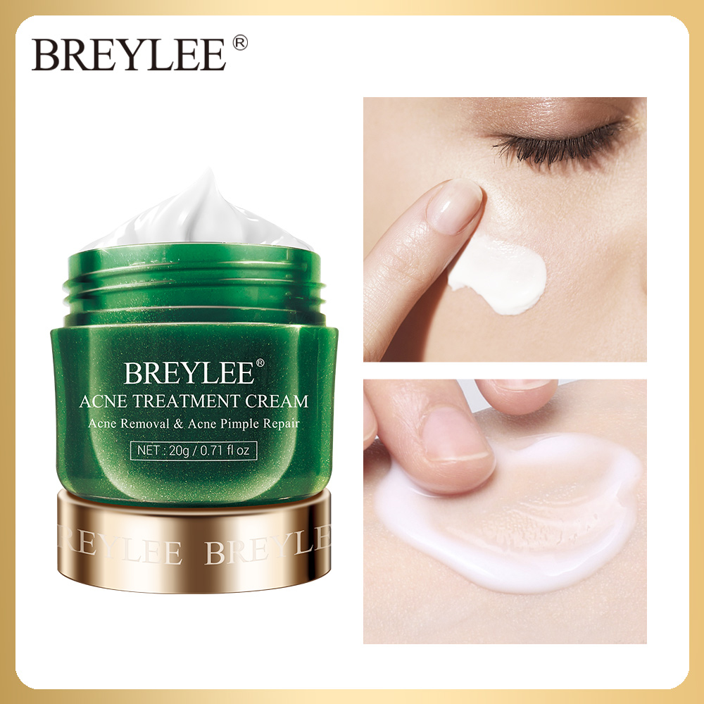 BREYLEE Acne Treatment Cream Anti Acne Face Cream Pimple Removal Spots Oil Control Shrink Pores Moisturizing Skin Care Serum 20g