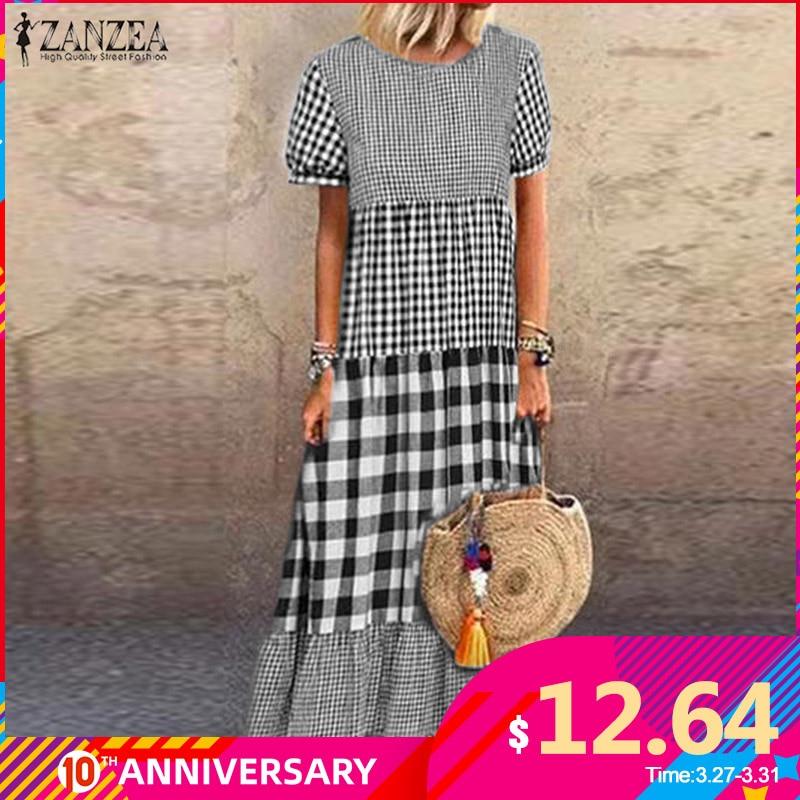 ZANZEA Women Short Sleeve Plaid Checked Dress Vintage Summer Sundress Casual Pacthwork Kaftan Party Vestido Robe Femme Dresses