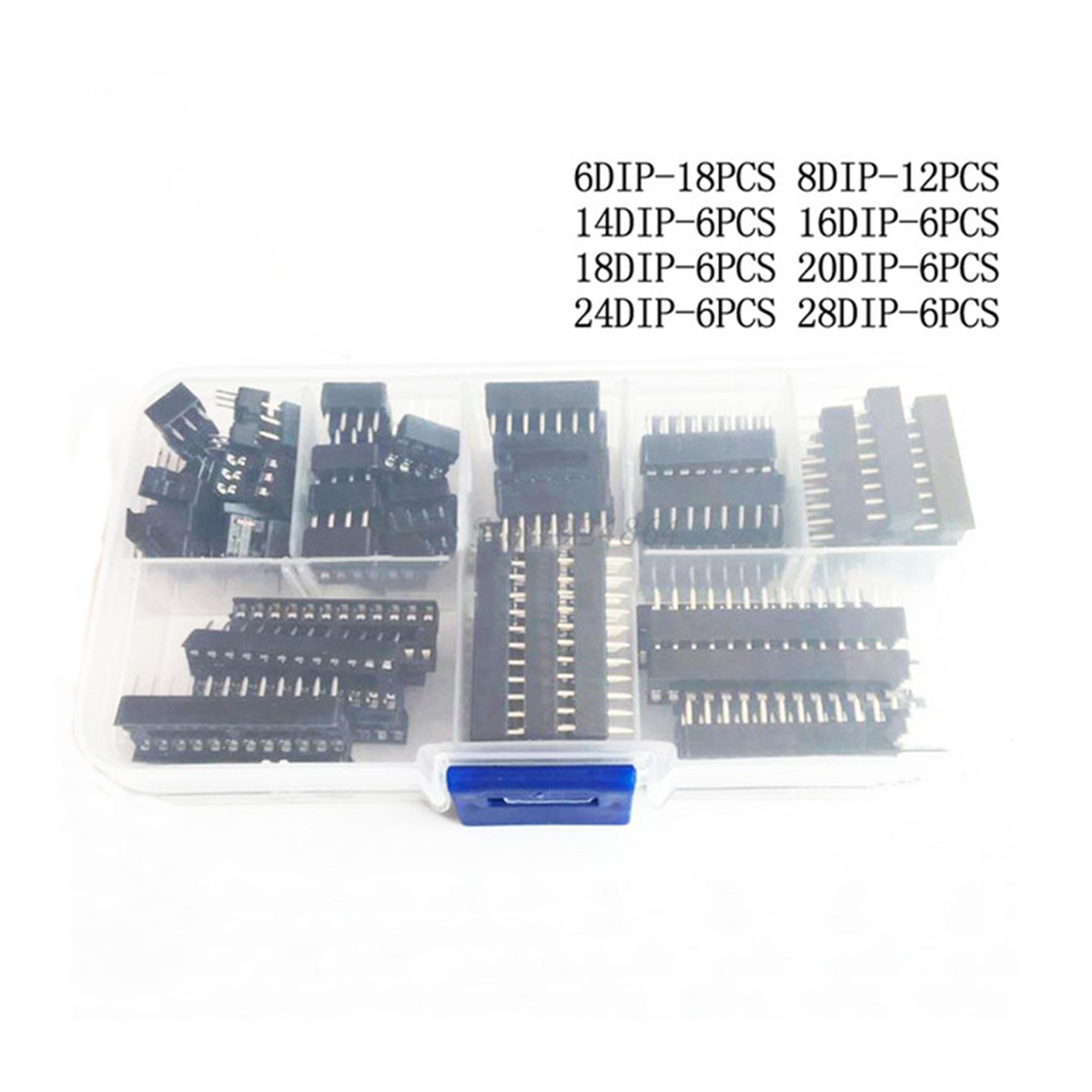 66PCS/Lot <font><b>DIP</b></font> IC <font><b>Sockets</b></font> Adaptor Solder Type 6/8/14/16/18/20/24/<font><b>28</b></font> pins <font><b>DIP</b></font> IC <font><b>Socket</b></font> set electronic diy assortment kit MCU seat image