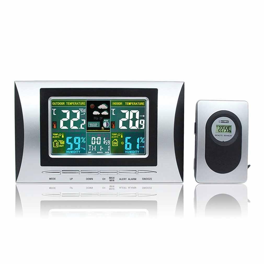 Baru Leading Hidup Cuaca Stasiun Cuaca Suhu Kelembaban Meter Sensor Tester Hygrometer Clock Alarm Indoor Outdoor Probe