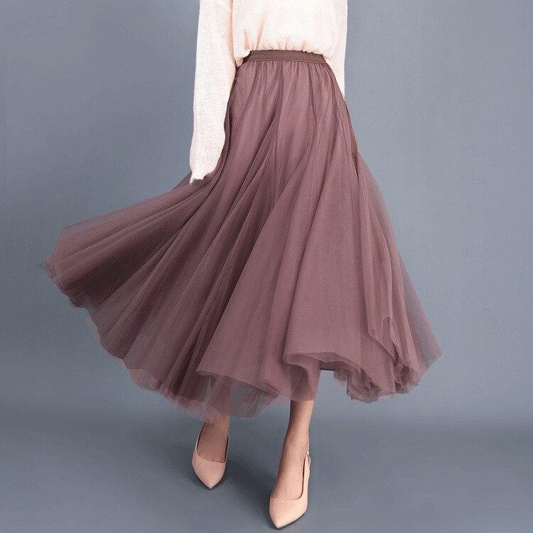 Korean-Style High-Waist Mesh Skirt Women's Autumn And Winter Elegant Fairy Put On A Large  Pleated A- Line Skirt