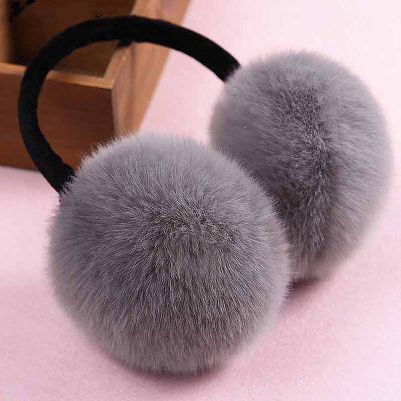 New Fashion Cute Rabbit Fur Earmuff Faux Rex Fur Earmuffs Winter Warm Leather Decor Head Decoration White Multicolor Headphones