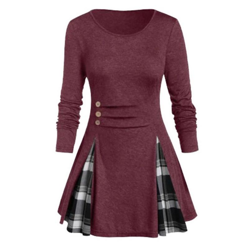 2020 Shirt Women Spring Autumn Long Sleeve Tartan Tunic Pullover Tops Irregular Plaid Print Pullover Blusas Feminina Plus Size