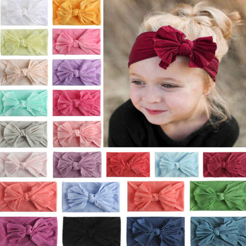 2019 Baby Solid Accessories Kid Girl Baby Headband Toddler Lace Bow Flower Hair Band Candy Color Headwear Wrap Photo Props Gifts