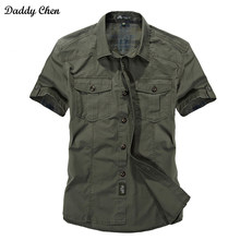 Jeep Solid Color Cotton Mens Shirts Short Sleeve Turn-down Collar Army Green Khaki Men Tops Casual Male Camisas Shirt XXXL(China)