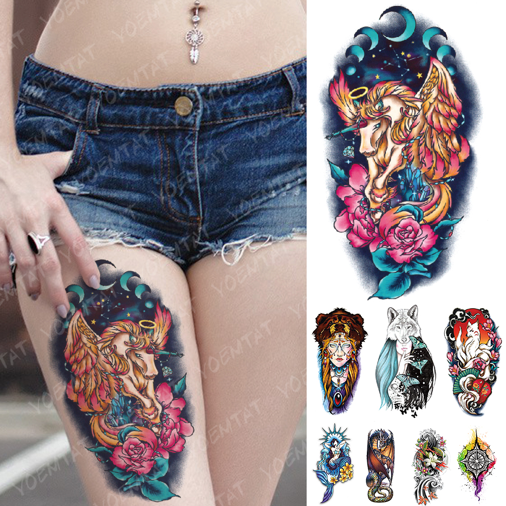Waterproof Temporary Tattoo Sticker Rose Unicorn Dream Flash Tattoos Mermaid Color Feather Body Art Arm Fake Tatoo Women Men