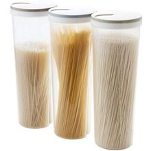 3 pcs Tall Food Storage Cylinder Shaped Spaghetti Noodle Container Box for Grain Cereal Oatmeal Nuts Beans