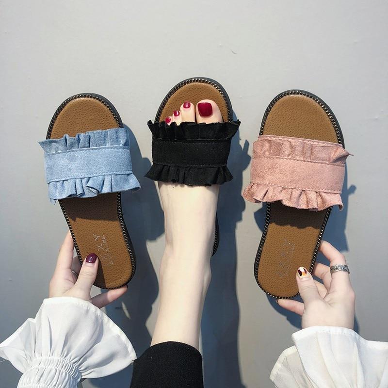 Women Slippers Lace Sandals Pleated Flips Flops Summer Style Shoes Flat Fashion Female Slides Big Size 35-40 Sandalias Mujer